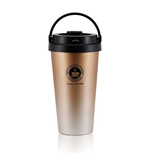 Coffee Travel Mug Double Wall Vacuum Insulated Travel Mugs Portable Coffee Tumbler Stainless Steel Coffee Cups 500ML 17Oz(Gold)