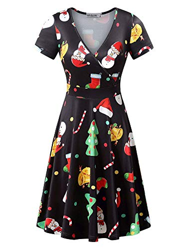MSBASIC Xmas Dresses Women, Short Sleeve Juniors Christmas Dress Tree XXL for $<!--$18.99-->