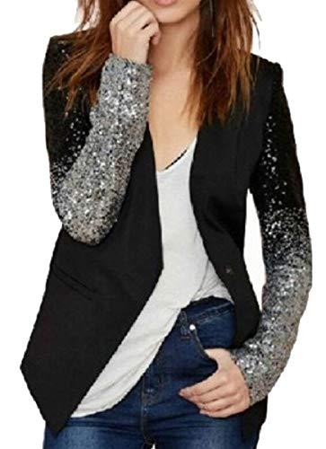 Donna Leisure Giacca Button Tailleur Giaccone Skinny Manica Autunno Suit Nero Casual Brillantini Coat Bavero Da Lunga Giovane Moda qqESnF