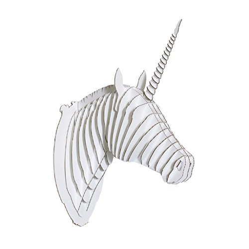 Unicorn Sculpture - Cardboard Safari | Unicorn Taxidermy 3D Art Puzzle | Made from SFI Certified Recycled Cardboard | Made in The USA | Merlin (Small, White)