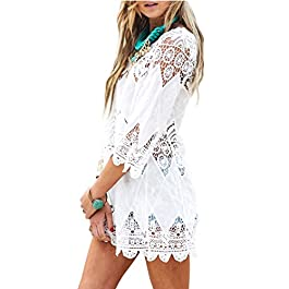 DNFC Beach Cover Up Women Cotton Lace Beachwear Cover Dress Top Ladies Bathing Suit Short Beach Crochet Wrap Summer Bikini Swimsuit Cover Up for Pool Swimming Holiday