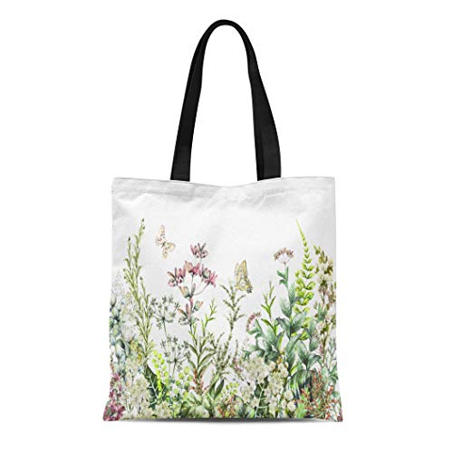 Semtomn Cotton Canvas Tote Bag Rim Border Herbs and Wild Flowers Leaves Botanical Colorful Reusable Shoulder Grocery Shopping Bags Handbag Printed