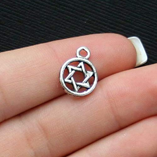 Pendant Jewelry Making for Bracelets and Chains 12 Star of David Charms Antique Silver Tone - SC2485