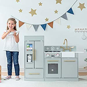 Teamson Kids Little Chef Chelsea Modern Play Kitchen Toddler Pretend 2 pcs Play Set with Accessories and Ice Maker Gray…