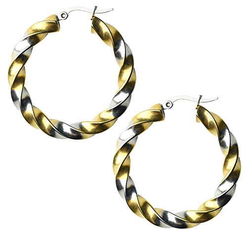 (MIUPER BLOsssM 18k Yellow Gold Plated Stainless Steel Polished Round Rope Twisted Two Tone Hoop Earrings for Women (Two-Tone))