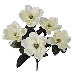 House of Silk Flowers Artificial 21-inch Cream Magnolia Bush (6 Bushes)