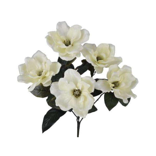 House of Silk Flowers Artificial 21-inch Cream Magnolia Bush (6 Bushes)
