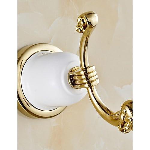 qiuxi Modern bathroom accessories Gold Bathroom Accessories Brass Material Robe Hook , golden cheap
