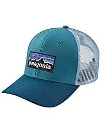 Patagonia P-6 Logo Trucker Snapback Hat Filter Blue Mens One Size