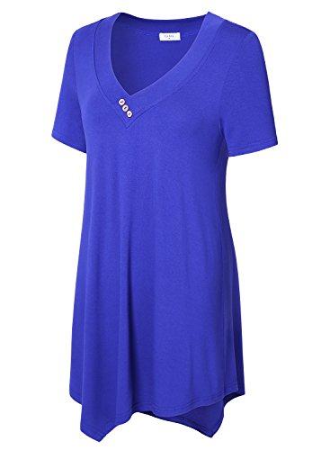 Blouse T Tunique Et Shirt Manches Kra Casual Femmes Ca Nu Epaule Courtes Chemise Bleu wxvEBq744