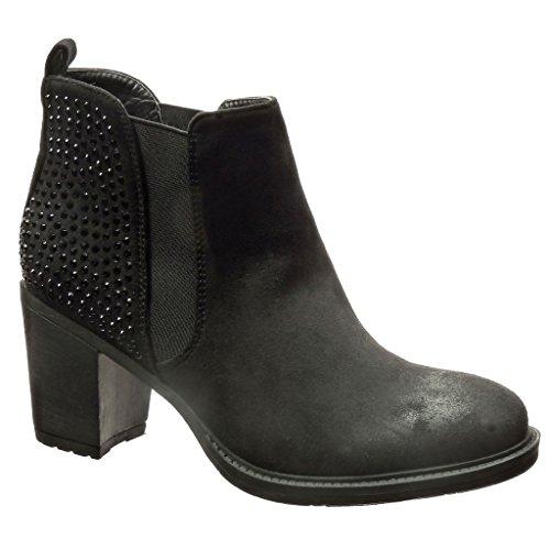 Alto Donna Tacco Scarponcini Stivaletti Scarpe Chelsea Moda Boots Blocco 7 Angkorly Nero cm Strass a xTqPwY8w