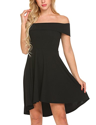 Funpor Women's Off Shoulder Ruffle High Low Casual Cocktail Party Skater Dress