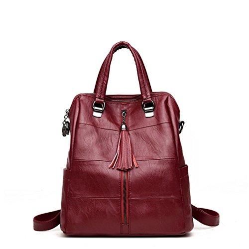 - Women Multifunction Backpack Leather Tassel Shoulder Bag Large Capacity Backbag Female Zipper School Bag Wine Red 12 Inches