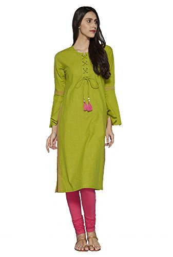 amp; Kurtis Casual Festive Sleeves Calf for Dress Cotton Women Flute Aahwan Indian Long Bell with Embroidered Green 5wP4qfxBWv