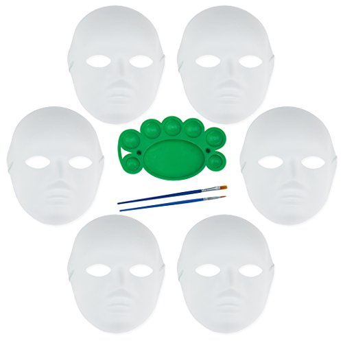 6 Pack Set DIY White Mask Paper Full Face Opera Masquerade Mask Plain Mask with Two Brushes and One Pigment Plate -