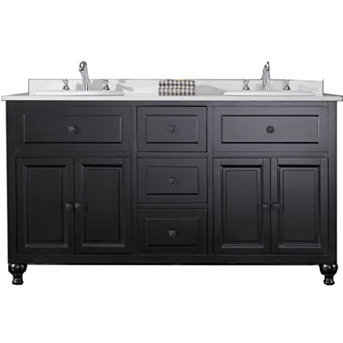 Ove Decors KensingtonDBL VB Double Vanity With White Marble Countertop And  Double Ceramic Basins, 60 Inch Wide, Dark Stain