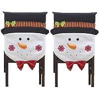 CHFUN Christmas Chair Covers, Christmas 2 Pack Snowman...