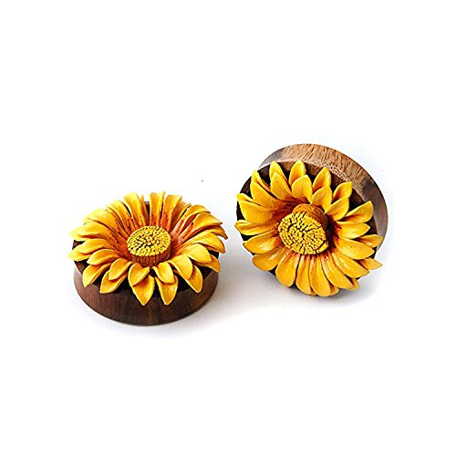 JewelryVolt Double Flare Sawo Wood Leather Sunflower Design Ear Plugs Gauges (OR. To YE.) (35 Millimeters)