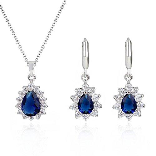 Blue Cubic Zirconia Earrings - 5