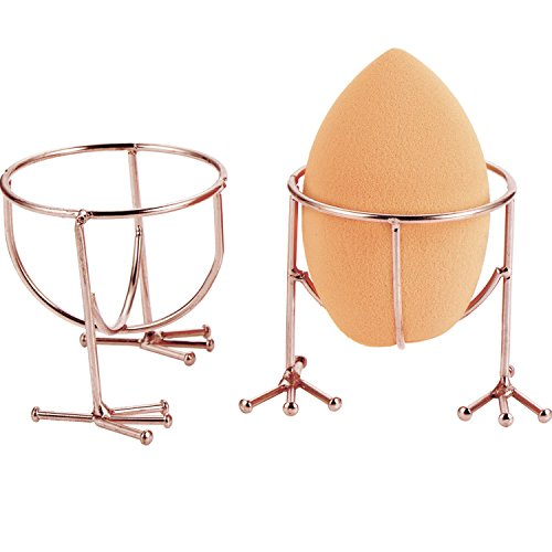 Hestya Makeup Sponge Holder Egg Sponge Stand Puff Display Stand Dryer Rack Makeup Sponge Support (Sponge is not included), 2 Pieces (Rose Gold) (Beautiful Blender)