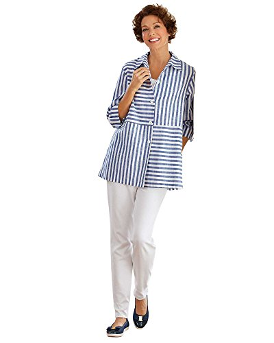 National Striped Shirt Jacket, Blue Stripe, Large by National