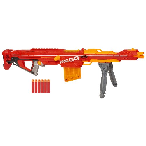 (Nerf Centurion Mega Toy Blaster with Folding Bipod, 6-Dart Clip, 6 Official Mega Darts, & Bolt Action for Kids, Teens, & Adults, Gray, Regular (Amazon)
