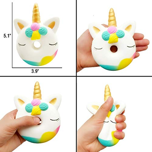 Yonishy Unicorn Squishies Toy Set - Jumbo Narwhale Cake,Unicorn Cake,Unicorn Donut,Dog,Unicorn Horse,Ice Cream Cat Kawaii Slow Rising Squishy Toys for Kids Party Favors(6 Packs) by Yonishy (Image #5)