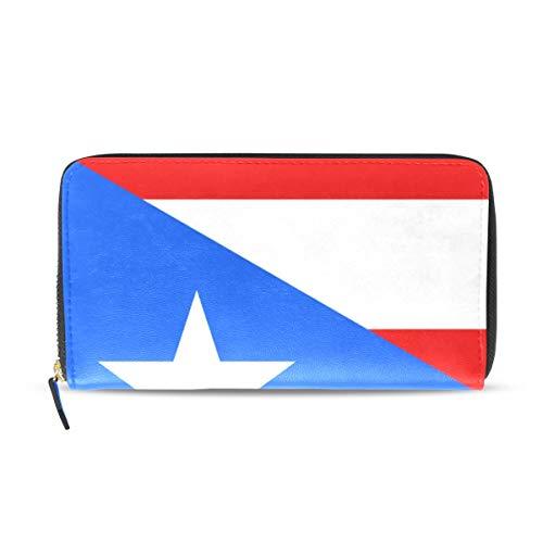 Wallet Long Clutch Puerto Rico Flag II - Card Holder Organizer, PU Leather Zipper Purse for Men Women (Wallet Puerto Rico)