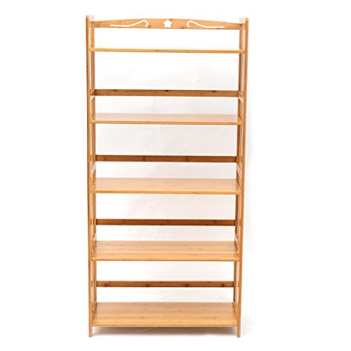 Bamboo Bookcase Multifunctional Storage Rack Book Shelving Rack Unit 5-Tier 100% Natural Dvd Storage Bookcase