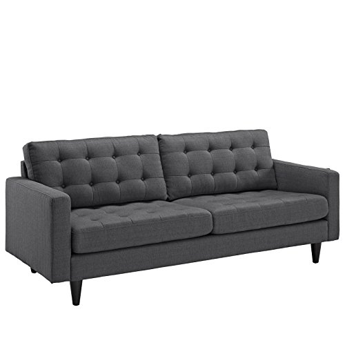 Modern Upholstered Sofa - Modway Empress Mid-Century Modern Upholstered Fabric Sofa In Gray