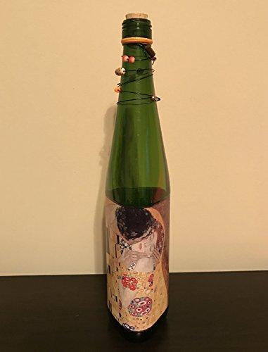 Gustav Klimt The Kiss inspired Decoupage Wine Bottle wrapped Black Wire, Glass Beads, and Cork Art Nouveau Decorative Bottle - Artist Gift