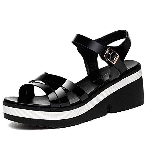 mujer planos Tacones altosSandalias HUAIHAIZ Black verano de zapatos PdIawxgqw