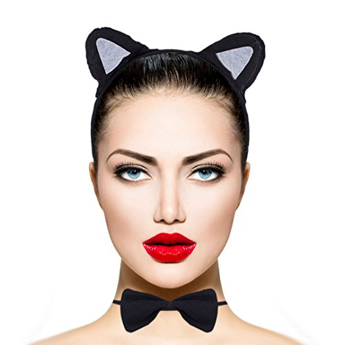 Lux Accessories Halloween Black Cat Ear Tail Bow Accessories Costume Set (3PCS)]()