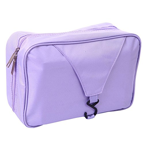 Happy Hours - Foldable Wash Bag Hanging Bathroom Travel Camping Hiking Toiletry With Hook Mens/Ladies Makeup Cosmetics Grooming Organizer Mesh Pocket Storage Waterproof , Purple