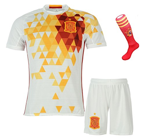 FS Spain National Home/Away Kid Soccer Jersey & Matching Shorts & Socks Set (Latest Season) (Youth M (for age 8-10), Away (White))