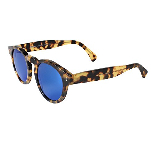 Illesteva Leonard Tortoise with Blue Mirrored Lenses Color - Illesteva Leonard Sunglasses