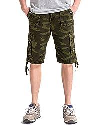 Men's Durable Loose Fit Multi Pockets Camo Cargo Short Army Green 31