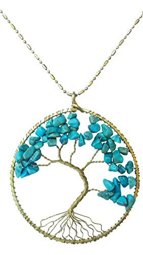 DEW Drops Reconstructed Turquoise Stone Tree of life Pendant Brass Long Necklace Gemstone Chakra ()