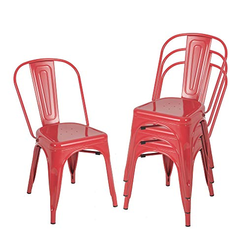 Metal Kitchen Dining Room Chairs, Stackable High Back Farmhouse Chair, Outdoor Patio Restaurant Chair,330lbs Heavy Duty, Set of 4 (Red)
