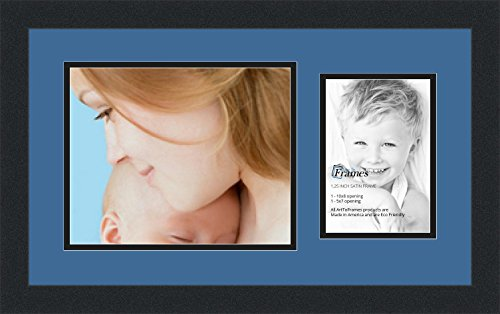 ArtToFrames Collage Photo Frame Double Mat with 1 - 5x7, 8x10 Openings and Satin Black Frame (Team Signed Collage)