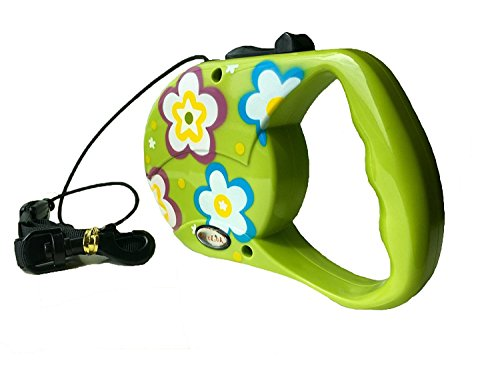Reelok Green Beautiful Flower Patterns Automatic Retractable Cord Leash 16 feet 5 M 45 Pounds Durable Heavy Duty Super Strength Dog Pet Safe Walk