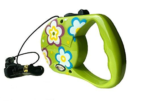 Reelok Green Beautiful Flower Patterns Automatic Retractable Cord Leash 16 feet 5 M 45 Pounds Durable Heavy Duty Super Strength Dog Pet Safe Walk