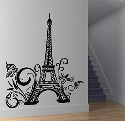 f49b3a324f5 ColorfulHall 23.6 quot  X 42.5 quot  Large Black DIY Paris Eiffel Tower  Wall Decals Mural Removable