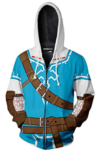 The Legend of Zelda Cosplay Costume Breath of The Wild Link Hoodie Sweatershirt Men's Halloween Zip up Coat (M, Link) -