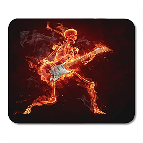 (Emvency Mouse Pads Red Rock Guitarist Series of Fiery Guitar Skeleton Fire Music Roll Mousepad 9.5