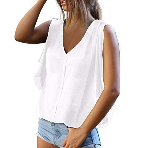 Witspace Women Summer Cold Shoulder Sleeveless Vest Shirt Casual Tunic Tops Blouse