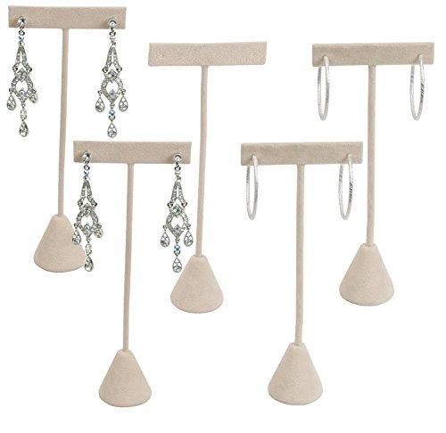 - N'icePackaging 6-Pack Earring T Stand Display T Shape Showroom and Tradeshow (Beige Faux Suede (5.75