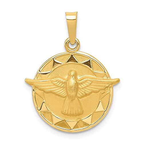 - 14k Yellow Gold Holy Spirit Medal Round Pendant Charm Necklace Religious Trinity Fine Jewelry Gifts For Women For Her