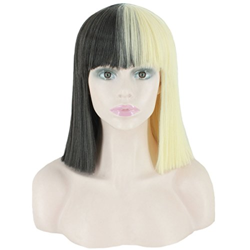 Angelaicos Unisex Party Bob Wig Black White Blonde Short Straight Hairstyle Wigs Black Blonde