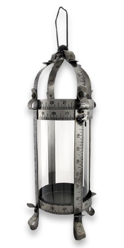 Things2die4 Metal & Glass Decorative Candle Lanterns Tape Measure Tabletop Pillar Candle Lantern 16 In. 5.25 X 16 X 5.25 Inches Black by Things2Die4